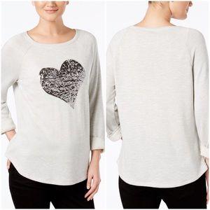 I.N.C. Embellished Heart Sweatshirt